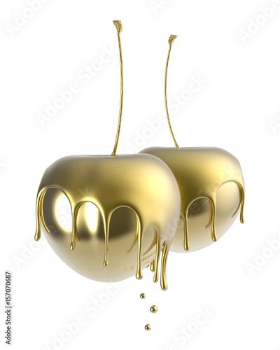 Złote wiśnie na białym tle