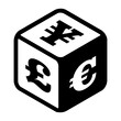Dice with different currency on each side. Stock currency exchange logo depicting risks and randomness of buisness fortune in the stock game