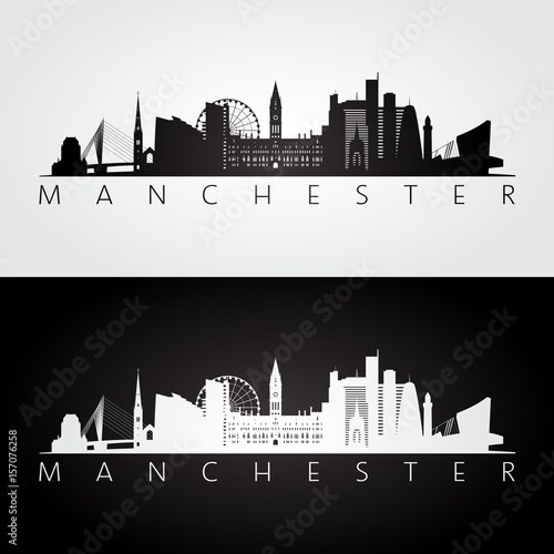 Manchester skyline and landmarks silhouette, black and white design.
