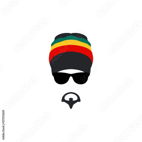 Man wearing rastafarian hat icon in flat style. Wallpaper Mural