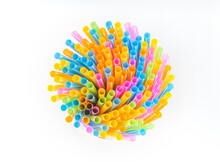 Drinking Straws In Many Fun Colours Pattern Background For Beverages Or Special Party In Summer