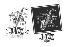 Jazz Emblem With A Saxophone