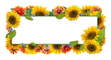 Cartoon Scene With Beautiful And Colorful Sunflowers Frame On White Background