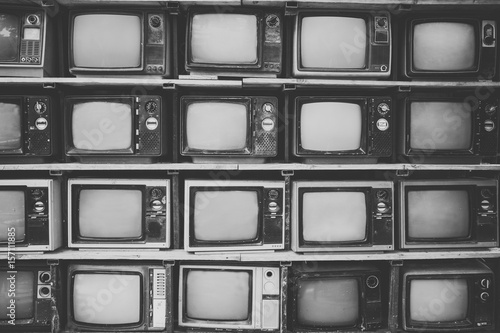 Photo  Pattern wall of pile black and white retro television (TV) - vintage filter effect style