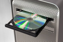 DVD CD ROM On A Computer Opened To Show Disc