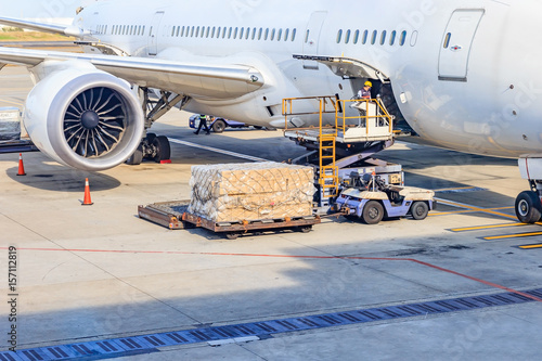 Fényképezés  Loading platform of air freight to the aircraft