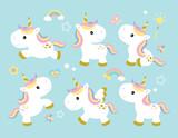 Vector illustration of cute unicorns.
