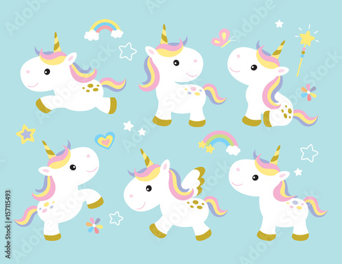 Vector illustration of cute unicorns. Canvas Print