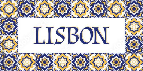 Lisbon travel banner vector Wallpaper Mural