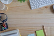 Workspace and office stuff on wood desk table. Copy space for text or product display montage.