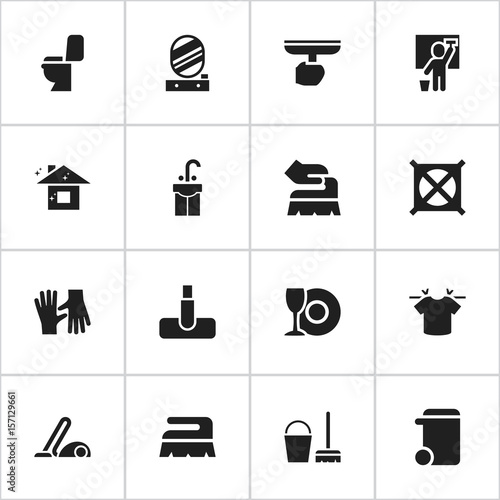 Set Of 16 Editable Dry Cleaning Icons Includes Symbols Such As