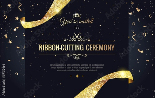Obraz Grand opening sparkling banner. Text composition with  golden splashes  and ribbons.Gold sparkles.  Elegant style. Vector Illustration - fototapety do salonu