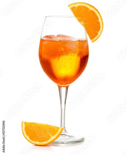 spritz cocktail in a wineglass garnished with orange slice