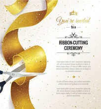 Grand Opening Vertical Banner. Text With  Confetti, Golden Splashes  And Ribbons.Gold Sparkles.  Elegant Style. Vector Illustration