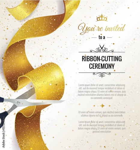 Obraz Grand opening vertical banner. Text with  confetti, golden splashes  and ribbons.Gold sparkles.  Elegant style. Vector Illustration - fototapety do salonu