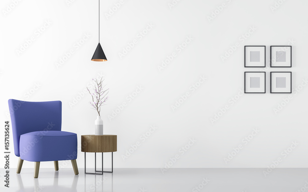 Fototapety, obrazy: Modern white living room interior with blue armchair 3d rendering Image.There are minimalist style image ,white empty wall and blue  furniture