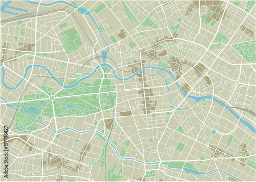 Zdjęcie XXL Wektorowa mapa miasta w Berlinie z dobrze zorganizowanymi oddzielonymi warstwami.