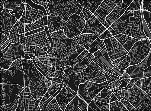 Plakat Czarno-biały wektor mapa miasta Rzymu z dobrze zorganizowanych oddzielnych warstw.
