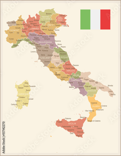 Cuadros en Lienzo Italy - vintage map and flag - illustration