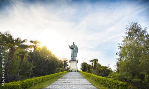 San Carlo Borromeo or Sancarlone Colossus famous statue in Arona village on the Wallpaper Mural