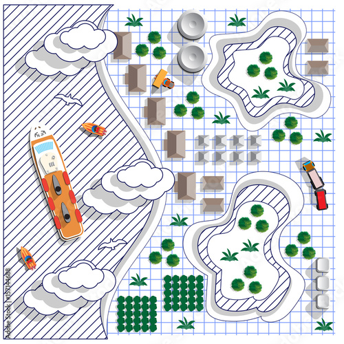 Poster de jardin Route Stylized landscape on a sheet in a cage. View from above. Vector illustration.