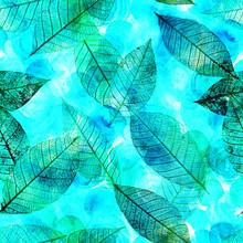 Seamless Background Pattern Of Teal Skeleton Leaves