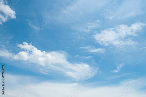 Fotografija abstract white wispy clouds and blue sky in sunny day of summer season, beautifu