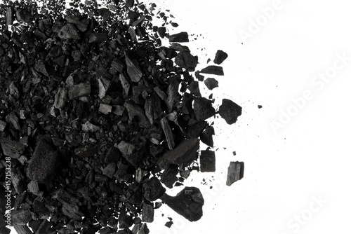 Pile of Carbon charcoal  dust on white background Wallpaper Mural