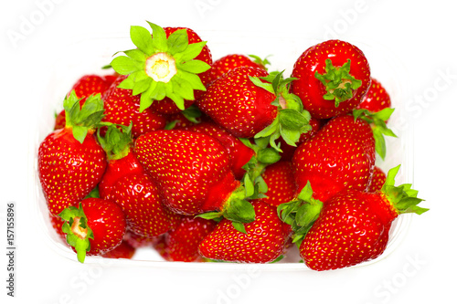 A set of fresh strawberry isolated on white background Wallpaper Mural