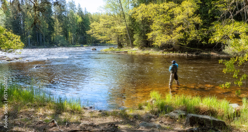 Printed kitchen splashbacks Fishing Fly fisherman using flyfishing rod in a beautiful river in spring