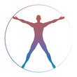 Modern colorful vitruvian man isolated on white background. Vector illustration