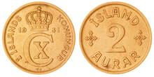 2 Aurar 1931 Coin Isolated On ...