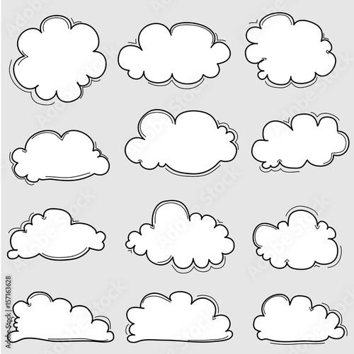 Fototapeta Hand Drawn Clouds Set. Vector Illustration. obraz