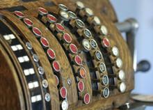An Antique Crank-Operated Cash Register, Or Till