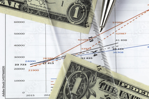 Concept Of Currency Exchange Chart With Currencies Prices One Us Dollar Bills On The