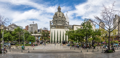 Poster South America Country Panoramic view of Botero Square - Medellin, Antioquia, Colombia