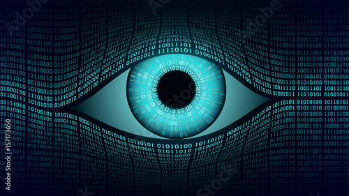 Big brother electronic eye concept, technologies for the global surveillance, security of computer systems and networks