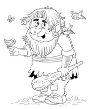 A Cute Troll. Fairy Tale. Coloring Book. Coloring Page. Illustration For Children.
