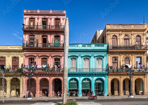 Staande foto Havana Colorful buildings in old Havana downtown Street - Havana, Cuba