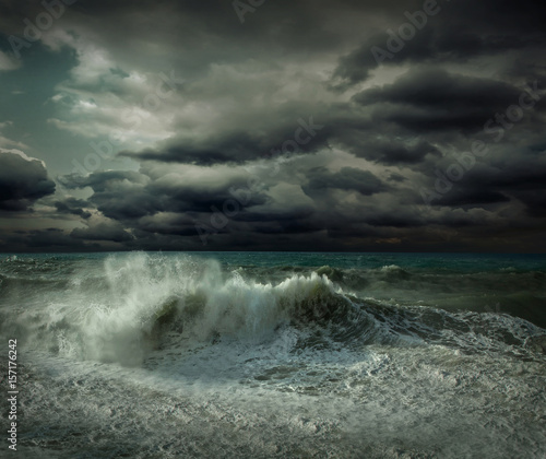 Poster Onweer View of great storm on the sea. Strong wind and big waves with s