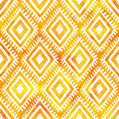 Hand drawn white ornament on orange watercolor, vector seamless pattern