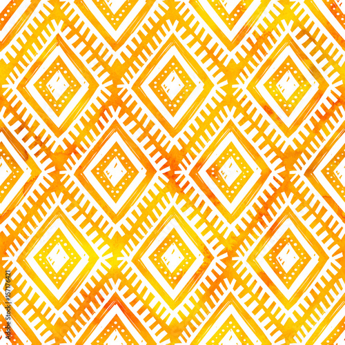 Fotografiet  Hand drawn white ornament on orange watercolor, vector seamless pattern