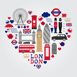 Fototapeta Londyn - London Heart Symbols Set. UK icon collection.