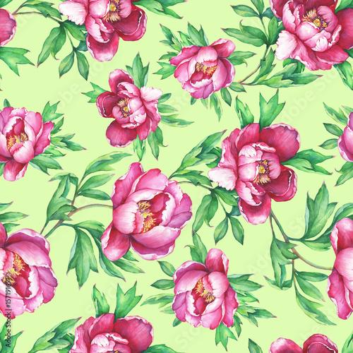 Vintage Floral Seamless Pattern With Flowering Pink Peonies On Greenery Background Elegance Watercolor Hand