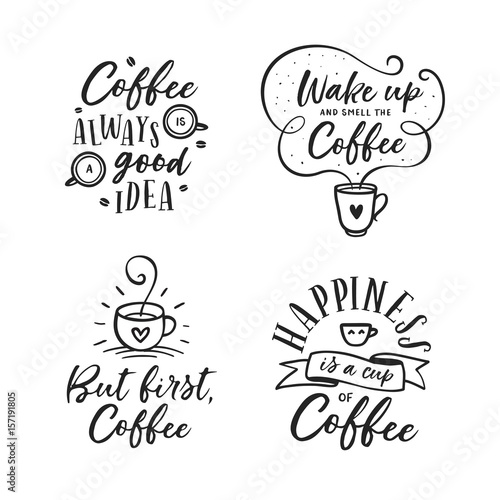 Fotografía  Hand drawn coffee related quotes set