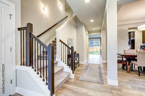 new luxury home interior with open floor plan buy this stock photo