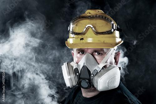 Man wearing respirator Wallpaper Mural