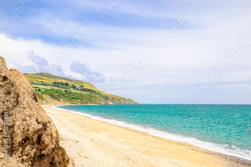 View on beautiful beach by Bray in Ireland Poster