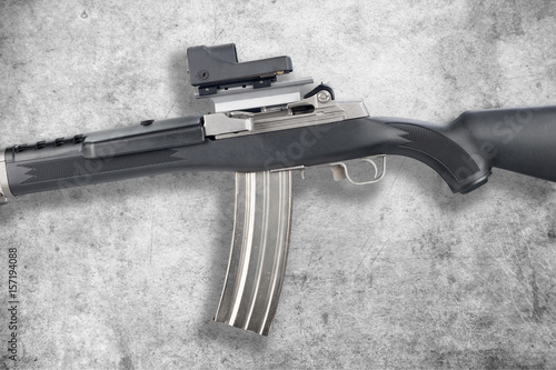Fotografie, Obraz  Assault rifle on grunge