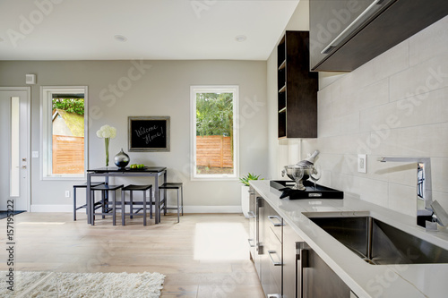 Family room design with wet bar nook - Buy this stock photo and ...